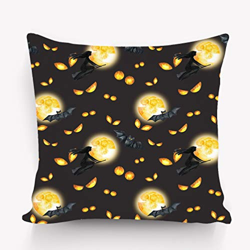 e Pillow case Happy Halloween Background Evil Eyes Full Moon Flying Witch Watercolor Horror Night Party 18 * 18 inch ()
