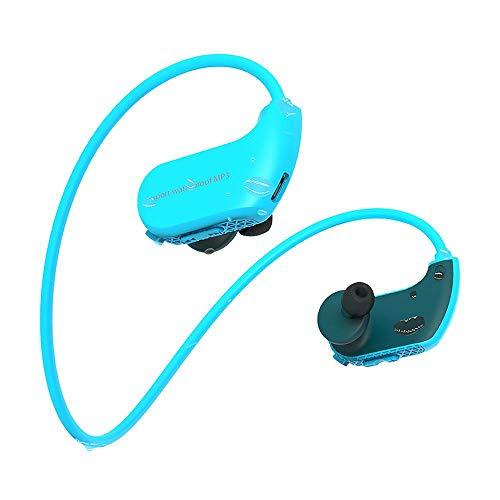 Tenlso wasserdichte Kopfhörer, Schutzart IPX8, 4 GB/8 GB MP3-Player, verkabelte In-Ear-Ohrhörer für Sport, Schwimmen, Laufen, Yoga, unter Wasser Blue 8gb
