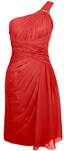 MACloth Women One Shoulder Short Draped Bridesmaid Dress Cocktail Party Gown Rot