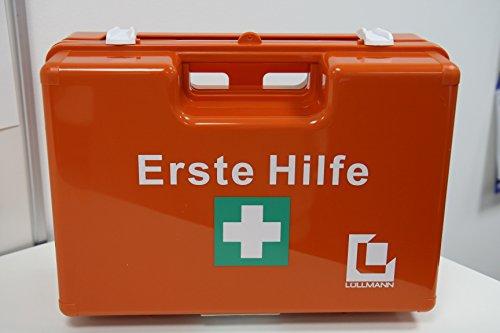 erste hilfe auto set VERBANDSKASTEN Erste Hilfe Koffer Lüllmann DIN 13157 Verbandkasten inkl. Wandhalter orange 620152