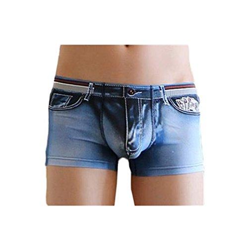 Amlaiworld Herren Baumwolle Spandex Jeans Boxer Reizwäsche, Dunkelblau, L