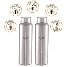 Sizzle New Design Unbreakable Stainless Steel Leak Proof Fridge Water Bottle, 2 Pc, 1000 Ml, Silver