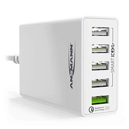 ANSMANN 5-Port USB Charger 50W - Quick Charge 3.0 Ladegerät mit intelligenter Ladesteuerung für Handy, Smartphone, Tablet, GoPro, Raspberry Pi, e-book Reader, Fahrradlicht etc. - Smart-handy-universal-ladegerät