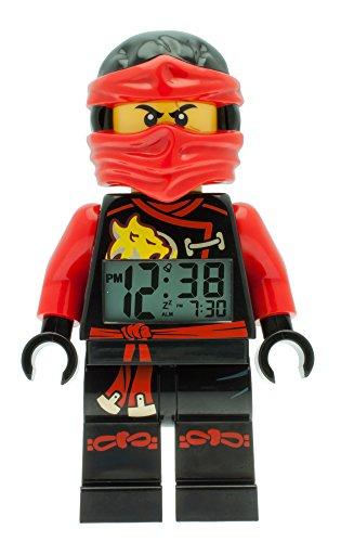 LEGO Ninjago Sky Pirates Kai Kinder-Wecker mit Minifigur und Hintergrundbeleuchtung | rot/schwarz | Kunststoff| 24 cm hoch | LCD-Display | Junge/ Mädchen | offiziell (Rot Ninjago)