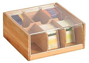 KESPER Boîte à thé en bambou, marron, 22x 21x 9,5cm