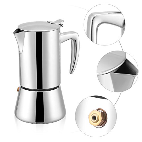 41Uz9WW75BL. SS500  - OKBY Espresso Coffee Pot- 200ml Stainless Steel Moka Maker Modern Style Elegant and Stylish Sleek Household Pot For Gas…