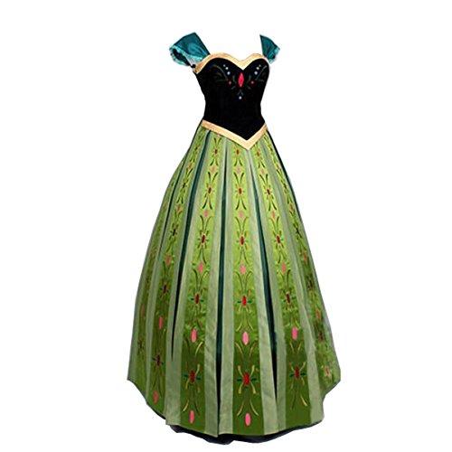 Damen Prinzessin Kleid Grün-Schwarz Cosplay Erwachsene Halloween Fasching Kostüm (M, - Frozen Anna Kostüm Grün