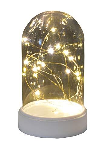 Käseglocke mit 20 LED Beleuchtung warmweiß Dekoration Weihnachtsdeko