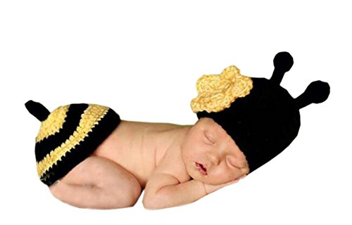 DELEY Unisex Baby Häkeln Flower Honey Bee Kostüm Kleinkind Kleidung Outfit Foto Requisiten 0-6 - Honey Bee Kostüm Kinder
