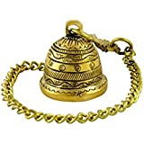 GoldGiftIdeas Small Dotted Antique Nakshi Hanging Bell With Chain, Home Decor Gift, Brass Bells For Home, Temple & Pooja Room