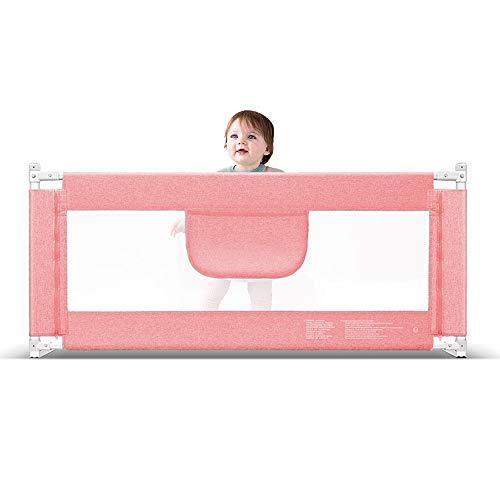 YNN Garde-Corps de lit pour Enfants Réglage de 5 Niveaux de la barrière pour éviter la Chute de Chevet Baffle Big Bed Rail de lit Universel (Couleur : Pink, Taille : 200cm)