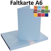 DIN A6 Faltkarten Doppelkarten | Hochdoppelt | Hell Blau | 25 Stück |  Einladungskarten