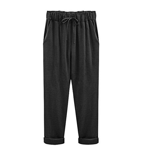 Hose SANFASHION Damen Plus Size Casual Frauen Baumwolle Leinen Elastische Taille Sommer Dünne Hosen (Plus Caprihosen Damen Size)