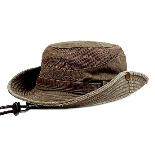 Mann Hut (Charmylo Baumwolle Sonnenhut Herren Sommerhut UV Schutz Wanderhut Fischerhut Trekking Faltbar SafariHut mit Kinnband Outdoor Buschhut Hiking Bucket Hat)