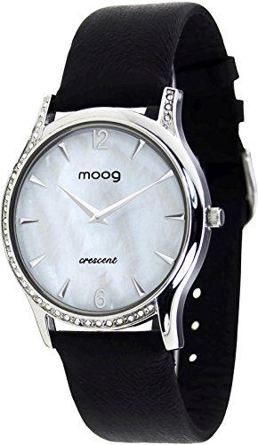Moog Paris Crescent Damen Uhr mit Weißem Zifferblatt, Swarovski Elements & Schwarzem Armband aus Aal Haut - M44392-202 (Schwarz Haut Aal)