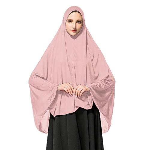 Deloito Damen Kopftuch Muslimischen Gebet Halstuch Lange einfarbig Khimar Tuch Hijab Weich Gemütlich Unter Schal (Khak,X-Large)