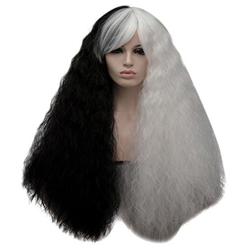 Cruella de ville lange Haare Wild Curly volle natürliche Perücke für Halloween Christmas Party Kostüm Perücke 27,56 Zoll + Perücke (Lange Haare Für Halloween Kostüme)
