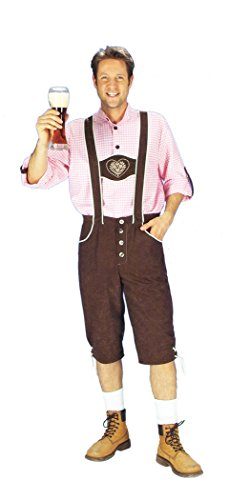 it Trachtenhemd, 2 tlg. Kostüm für Oktoberfest u Karneval - 58/60 (Halloween Lederhosen)