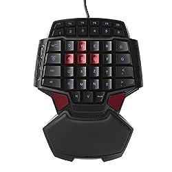 Delux T9 Mini Game Pad Gameboard Gaming Tastaturen Spielbrett FPS Gamer Spieltastatur Backlight Spiele mit einer Hand Für BF3 Battlefield3 / COD Call of Duty / HALO / CS CSOL / AVA / WOW und Crysisetc / Rautenförmigen ergonomisches Design