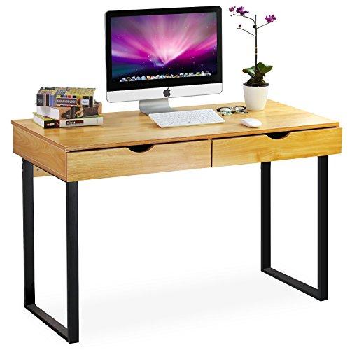 Tribesigns Schreibtisch mit Schubladen , Moderner Bürotisch Computertisch Arbeitstisch PC Tisch für Home Office Arbeitzimmer Kinderzimmer (Buche/Schwarz)