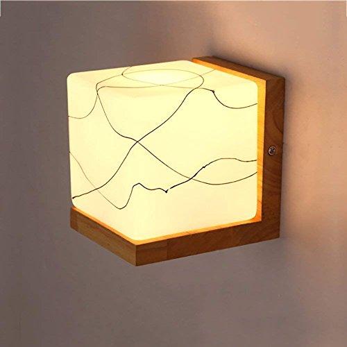 QAZ Lampe Murale chambre à coucher des lumières de chevet, créatif unique Simple tête tête Square Wall Lights des lumières décoratives, E27 (taille : 14*14cm)
