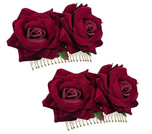 Rose Blume Haarspange,2 Stücke Haarschmuck Blumen Rot Haarkämme Damen Kopfband für Frauenmädchen Hochzeitsfeier Flamenco-Tänzerin