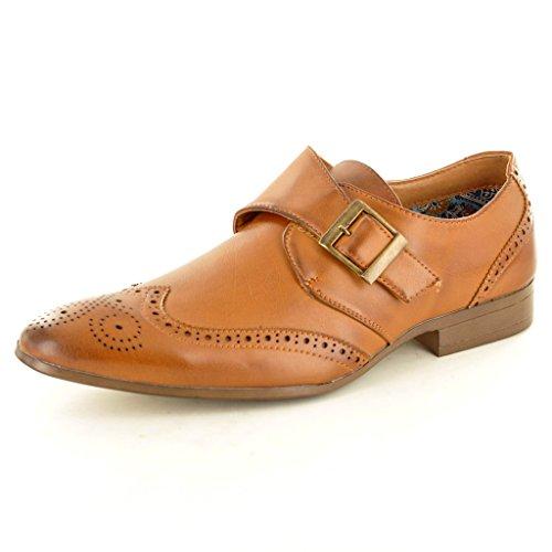 Herren Casual Formale Lapsus Mönch Strap Brogue Fashion-Schuhe Hellbraun
