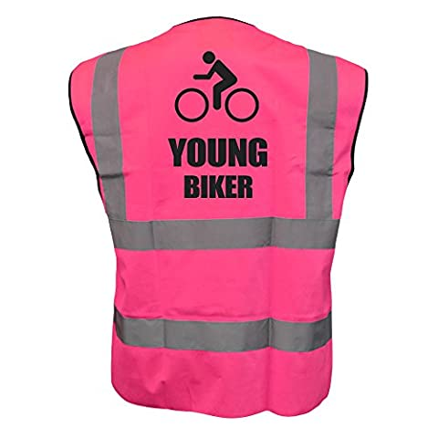 Kids Cycle YOUNG BIKER Hi Viz Vis Vest Childs Cycling Bike Reflective Waistcoat Jacket Road Safety Bicycle High Visibility PINK
