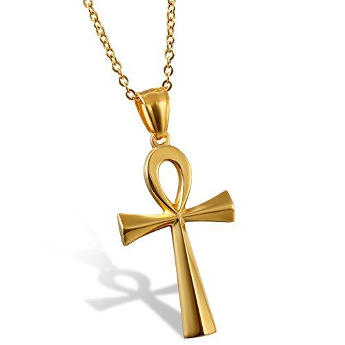 """Flongo Colgante de Cruz Ankh Egipto Acero Inoxidable de Color Plata Egipcio Collar Para Hombre Mujer Retro Vintage, Cadena 50cm   Detalles: Colgante Alto*Ancho: 1.7""""(4.3cm)*0.98""""(2.5cm) ,Cadena: 19.7""""(50cm)*0.08""""(2mm)  Material: Acero Inoxidable Dis..."""
