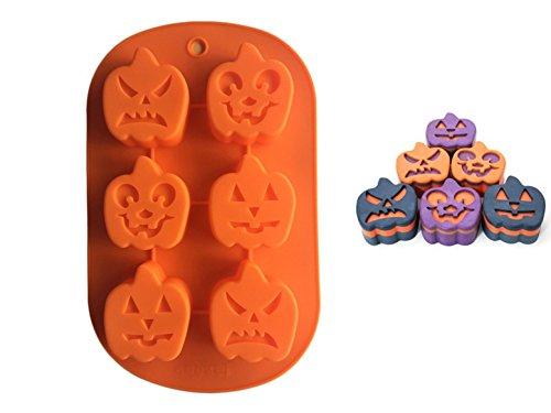 Premium Antiadherente Moldes para tartas, FantasyDay Moldes de Silicona para Caramelos, Chocolate, Hornear, Tarta, Galletas, Jabón, Hielo - Antiadherente Apto Para Lavavajillas Y Microondas - Calabaza de Halloween