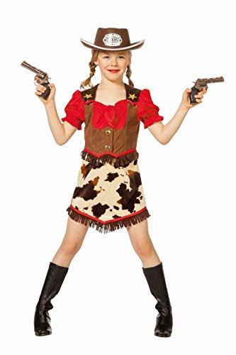 y Mädchen Cowgirl Kleid Fasching Karneval Gr.128 (Mädchen Cowboy Kostüme)