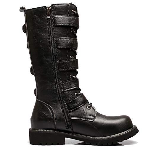 Top Martin Stiefel Armee Militärische Taktische Stiefel Schnalle Gürtel PU Leder Kalb Boot Gummistiefel Halloween Cosplay,Black-37 ()