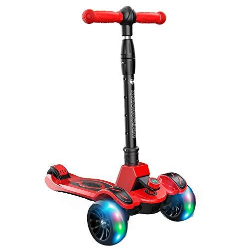 WYQ Kinder Roller, dreiradscooter Kinder, Faltbares Design, verstellbare Griffe mit breiter Plattform, blinkende Räder aus PU, der sichere Tretroller Kinder (Farbe : Red, größe : 56cm × 32cm × 82cm) - Breite Plattform