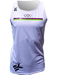 Ekeko camiseta OLIMPICA, Olimpiadas, running, atletismo y deportes de playa, camiseta tecnica transpirable color blanco (MEDIUM)