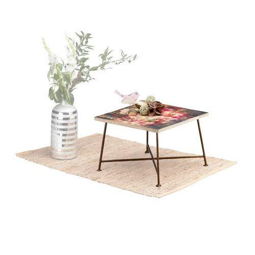 Native Home d'Appoint Vintage Motif à Fleurs, Bois Manguier & Métal Petite Table Basse de Salon 28x40x40cm, Coloré, manguier, HLP 28 x 40 x 40 cm