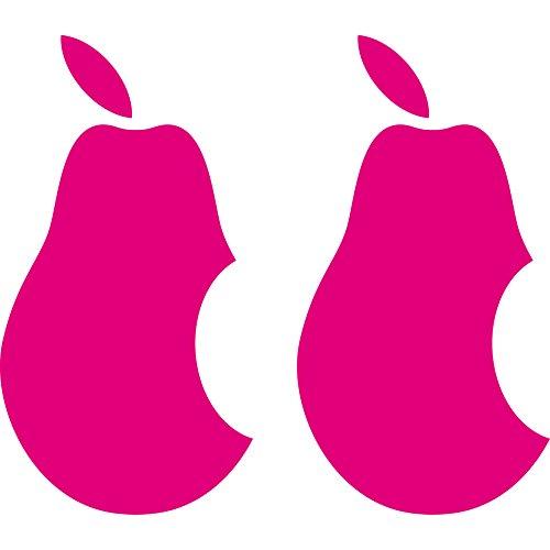 2 Stück 10cm Birne mit Biss Apple Verarsche Handy Tablet Notebook Laptop Aufkleber Tattoo die cut Deko Folie - Pink Apple-aufkleber