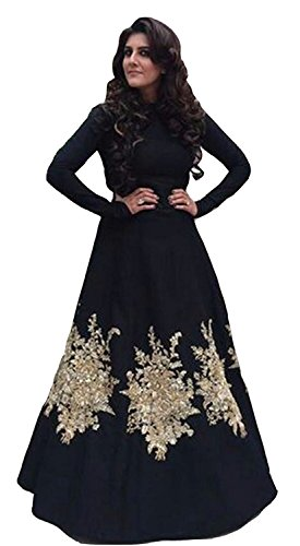 SUNSHINE Black Color Tapeta Silk Fabric Embroidred Semi Stitched Gown ( New Arrival Latest Best Design Beautiful Gown Collection For Women and Girl Party wear Festival wear Special Function Events Wear In Low Price With High Demand Lehnga Todays Special Offer and Deals with Fancy Designer and Bollywood Collection 2017 Punjabi Anarkali Lehenga Chudidar Patialas Plazo pattern Suits )