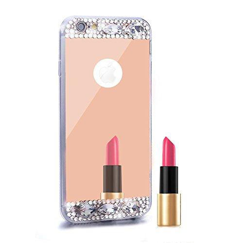 "Handy Spiegel Apple iPhone 7Plus 5.5""Abdeckung Cover, herzzer Luxus Crystal Kreativ Elegant 3d Ultra Slim Thin Clear Kristall Silikon TPU Gel Schutzhülle Mirror mit Kristall Sparkly Strass flexibel roségold"