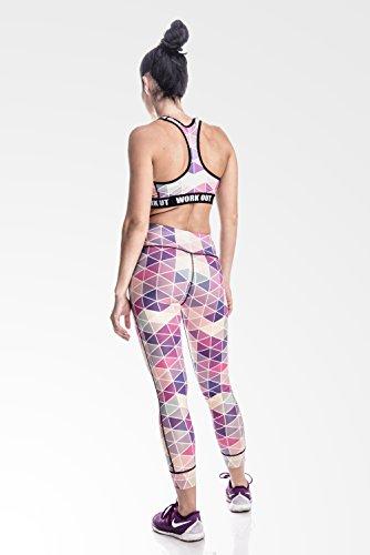 Fringoo - Legging de sport - Femme Multicolore Bigarré Taille Unique PINK TRIANGLE yoga