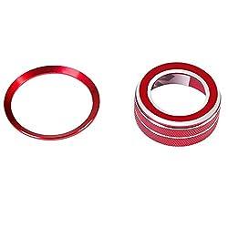 Aluminiumlegierung motor start stop taste ring & volumen dekoration trim abdeckung für jaguar xe xel xf xfl f-pace 2 stücke (Red)