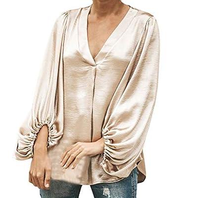 Yvelands Damen Langarm Bluse Reine Farbe V-Ausschnitt Lässige Top Fashion T Shirt