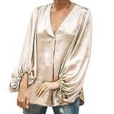 Yvelands Damen Langarm Bluse Reine Farbe V-Ausschnitt Lässige Top Fashion T Shirt(CN-L,Khaki)