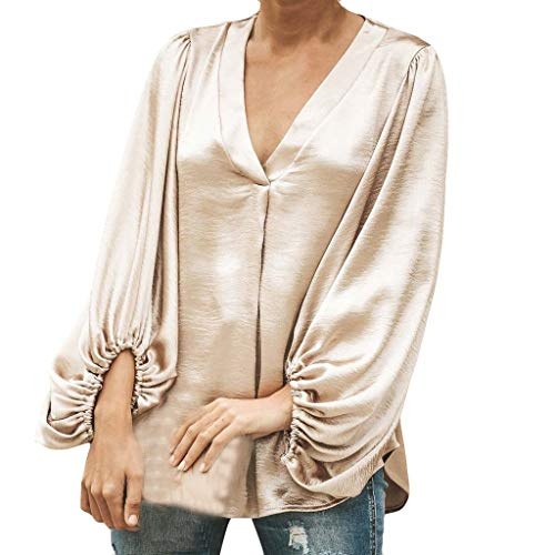 Yvelands Damen Langarm Bluse Reine Farbe V-Ausschnitt Lässige Top Fashion T Shirt(CN-2XL,Khaki)