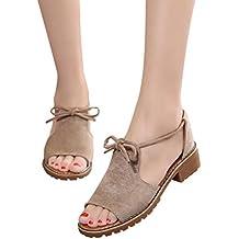 Calzado Chancletas Tacones Zapatos planos Sandalias de verano para mujer Cuña con cordones Alpargatas Fiesta Zapatos ❤️ Manadlian (Caqui, CN:39)