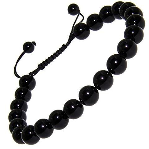 Onyx Noir Pierre précieuse de 10mm Lucky Perle réglable Pull & Tied Bracelet Compatible avec tous les hommes femmes