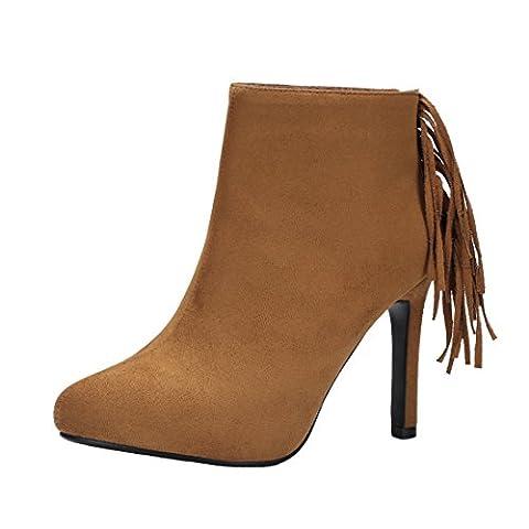 UH Damen Stiletto Plateau Stiefeletten High Heels Ankle Boots mit Fransen und Reißverschluss Elegante