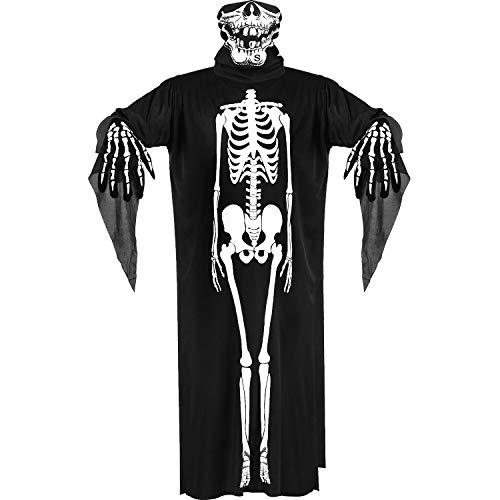 Halloween Kostüm Skelett Handschuhe, Schädel Gesichtsmaske Geist Knochen Kleidung für Erwachsene Halloween Tanz Kostüm Party Cosplay - Schädel Kostüm