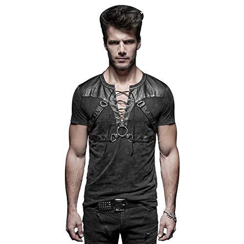 Punk Rave Schwarz Gothic Steampunk Soldat Strappy Short T-Shirt für Herren L
