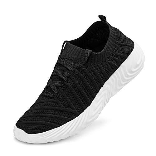 ZOCAVIA Turnschuhe Damen Laufschuhe Atmungsaktiv Sportschuhe Wanderschuhe Leichte Mesh-Bequeme Schuhe, Schwarz-weiss, 43 EU -