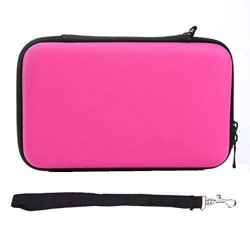 Exlene® EVA de la piel del caso duro lleva la bolsa del bolso para Nintendo 3DS LL XL-- con la correa [Videojuegos] (rosado)